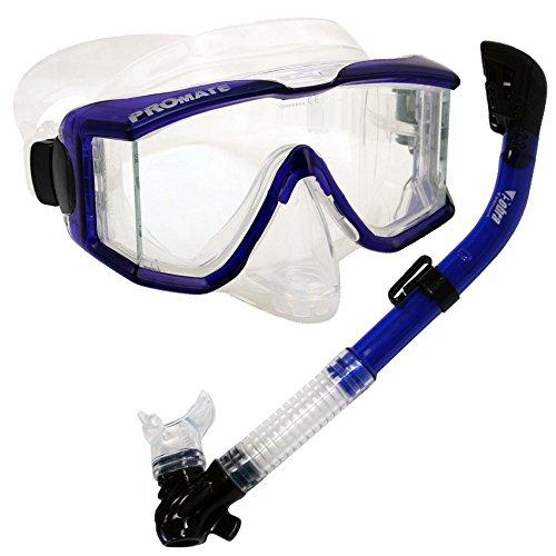シュノーケリング マリンスポーツ Promate Snorkeling Scuba Dive DRY Snorkel Purge Edgeless Mask Gear Set, Trans. Blueシュノーケリング マリンスポーツ