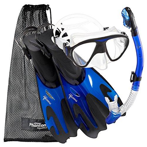 シュノーケリング マリンスポーツ PROFSIGMFS-BL-SM Phantom Aquatics Navigator Mask Fin Snorkel Set, Blue, S/M, 5-8シュノーケリング マリンスポーツ PROFSIGMFS-BL-SM