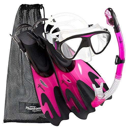 シュノーケリング マリンスポーツ PROFSIGMFS-PK-SM Phantom Aquatics Navigator Mask Fin Snorkel Set, Pink, S/M, 5-8シュノーケリング マリンスポーツ PROFSIGMFS-PK-SM