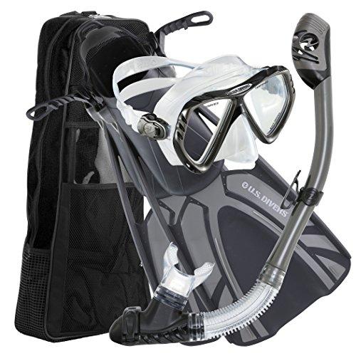 シュノーケリング マリンスポーツ 261223 U.S. Divers Adult Regal LX Mask/Tucson Snorkel/Starboard Fins/Travel Bag Combo, Gun Metal, Large/X-Large (9-13)シュノーケリング マリンスポーツ 261223