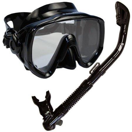 シュノーケリング マリンスポーツ Promate Snorkeling Scuba Dive Mask Dry Snorkel Gear Set, BkBkシュノーケリング マリンスポーツ