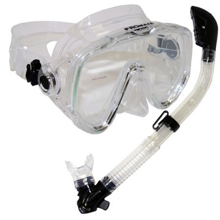 シュノーケリング マリンスポーツ 夏のアクティビティ特集 Promate Snorkeling Scuba Dive Mask Dry Snorkel Gear Set, Clearシュノーケリング マリンスポーツ 夏のアクティビティ特集