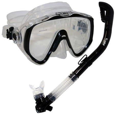 シュノーケリング マリンスポーツ Promate Snorkeling Scuba Dive Mask Dry Snorkel Gear Set, Trans. Blackシュノーケリング マリンスポーツ