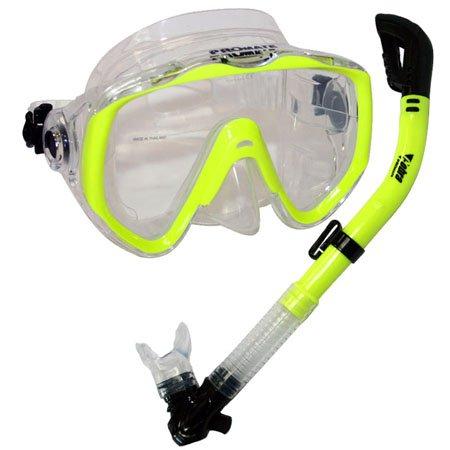 シュノーケリング マリンスポーツ Promate Snorkeling Scuba Dive Mask Dry Snorkel Gear Set, Yellowシュノーケリング マリンスポーツ