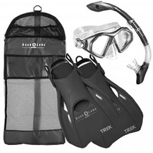 シュノーケリング マリンスポーツ 【送料無料】Aqua Lung Sport Admiral 2 LX, Island Dry LX & Trek Snorkeling Set Medium Blackシュノーケリング マリンスポーツ