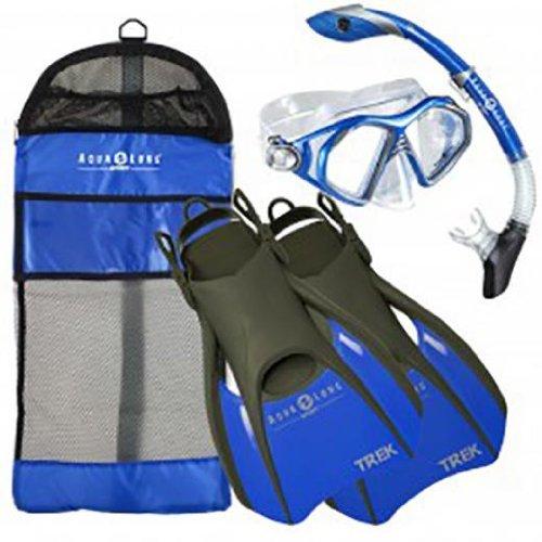 シュノーケリング マリンスポーツ Aqua Lung Sport Admiral 2 LX, Island Dry LX & Trek Snorkeling Set Large Blueシュノーケリング マリンスポーツ