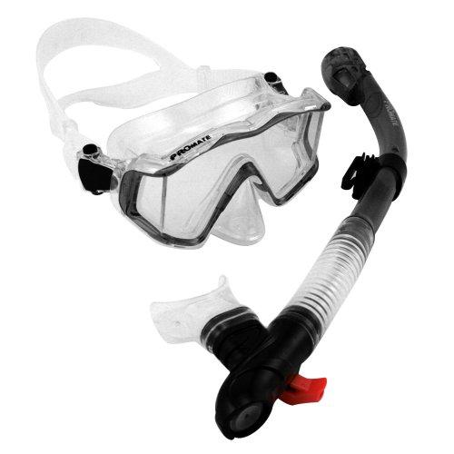 シュノーケリング マリンスポーツ 夏のアクティビティ特集 Promate Scuba Dive Mask Panoramic Window View & Snorkel Combo Set, Blackシュノーケリング マリンスポーツ 夏のアクティビティ特集