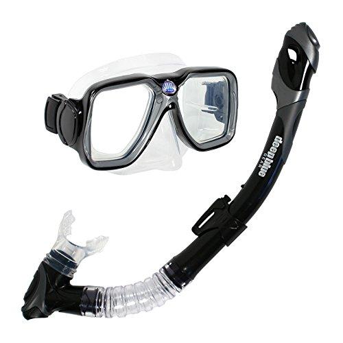 シュノーケリング マリンスポーツ DBG-CK-2550-BK 【送料無料】Deep Blue Gear Maui Ultra Dry Diving Mask and Dry Snorkel Set, Adult, Blackシュノーケリング マリンスポーツ DBG-CK-2550-BK
