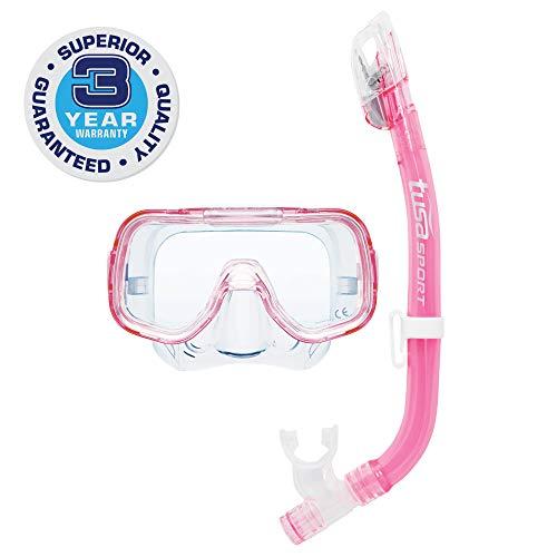 シュノーケリング マリンスポーツ UC-2022-CLP TUSA Sport Youth Mini-Kleio Mask and Dry Snorkel Combo, Clear Pinkシュノーケリング マリンスポーツ UC-2022-CLP