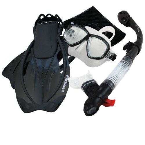 シュノーケリング マリンスポーツ Promate Snorkeling Mask Dry Snorkel Fins Mesh Gear Bag Set 7590, Bk, MLXLシュノーケリング マリンスポーツ