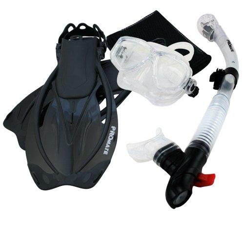 シュノーケリング マリンスポーツ Promate Snorkeling Mask Dry Snorkel Fins Mesh Gear Bag Set 7590, ClrwBk, SMシュノーケリング マリンスポーツ