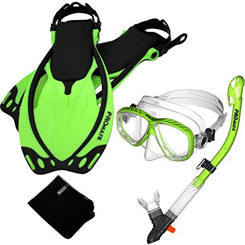 シュノーケリング マリンスポーツ Promate 7590-Green-SM, Snorkeling Mask Dry Snorkel Fins Mesh Gear Bag Setシュノーケリング マリンスポーツ