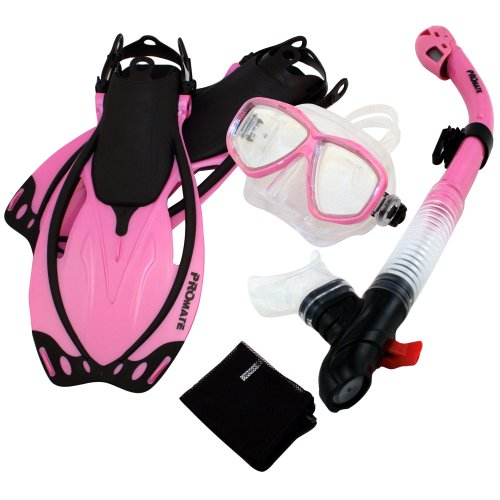 シュノーケリング マリンスポーツ Promate Snorkeling Mask Dry Snorkel Fins Mesh Gear Bag Set 7590, n.Pink, MLXLシュノーケリング マリンスポーツ
