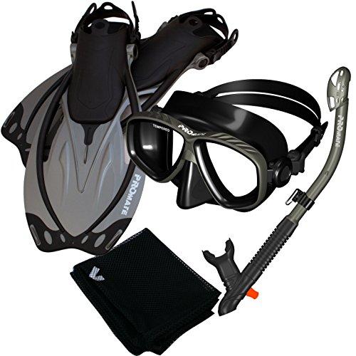 シュノーケリング マリンスポーツ Promate 7590-Ti/Bk-MLXL, Snorkeling Mask Dry Snorkel Fins Mesh Gear Bag Setシュノーケリング マリンスポーツ