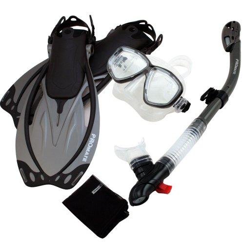 シュノーケリング マリンスポーツ 【送料無料】Promate Snorkeling Mask Dry Snorkel Fins Mesh Gear Bag Set 7590, Ti, MLXLシュノーケリング マリンスポーツ