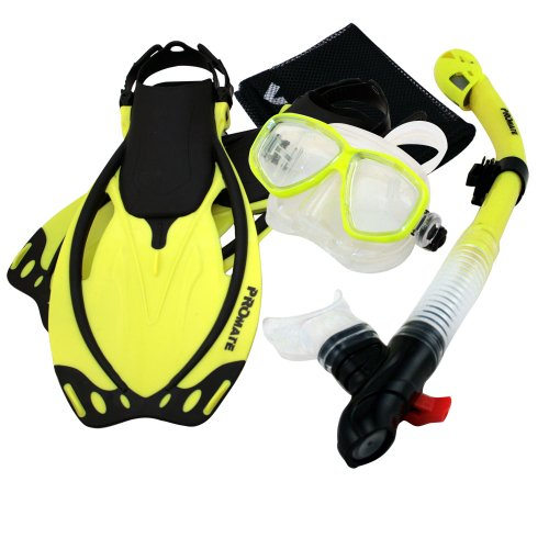 シュノーケリング マリンスポーツ 【送料無料】Promate Snorkeling Mask Dry Snorkel Fins Mesh Gear Bag Set 7590, YEL, MLXLシュノーケリング マリンスポーツ