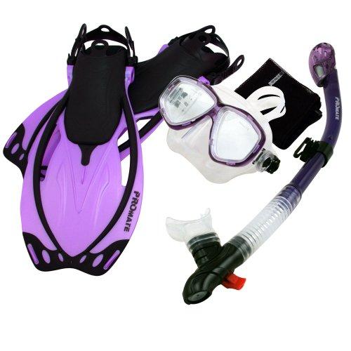 シュノーケリング マリンスポーツ 夏のアクティビティ特集 Promate Snorkeling Mask Dry Snorkel Fins Mesh Gear Bag Set 7590, t.Pur, SMシュノーケリング マリンスポーツ 夏のアクティビティ特集