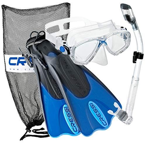 シュノーケリング マリンスポーツ CRSPSFSS-BL-LXL Cressi Palau Mask Fin Snorkel Set with Snorkeling Gear Bag, Blue, L/XL | (Men's 10-13) (Women's 11-14)シュノーケリング マリンスポーツ CRSPSFSS-BL-LXL