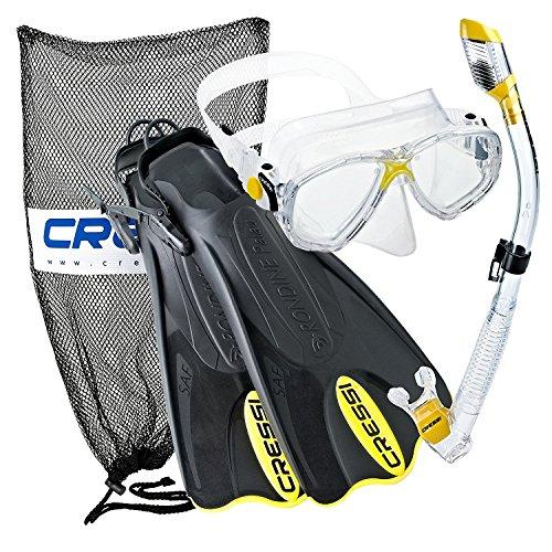 シュノーケリング マリンスポーツ CRSPSFSS-YL-ML 【送料無料】Cressi Palau Mask Fin Snorkel Set with Snorkeling Gear Bag, Yellow, M/L | (Men's 7-10) (Women's 8-11)シュノーケリング マリンスポーツ CRSPSFSS-YL-ML