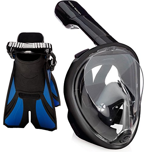 シュノーケリング マリンスポーツ cozia design Snorkel Set with Full Face Snorkel Mask and Travel Adjustable Swim Fins (Black, Large/X Large)シュノーケリング マリンスポーツ