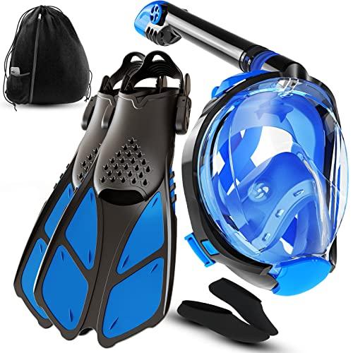シュノーケリング マリンスポーツ 【送料無料】cozia design Snorkel Set with Full Face Snorkel Mask and Travel Adjustable Swim Fins (Blue, Small/Medium)シュノーケリング マリンスポーツ