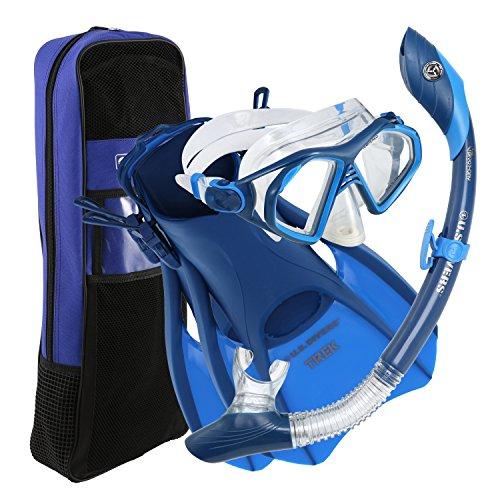 シュノーケリング マリンスポーツ 281069 U.S. Divers Admiral Snorkeling Set - Premium Silicone Snorkel Mask, Trek Travel Fins, Dry Top Snorkel + Snorkeling Gear Bag, Blue, Smallシュノーケリング マリンスポーツ 281069