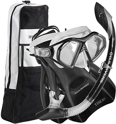 シュノーケリング マリンスポーツ 278690 U.S. Divers Admiral LX Travel Snorkel Set (Black). Adult Snorkel Mask, Snorkel, Fins, and Gear Bag (Medium, 7-10).シュノーケリング マリンスポーツ 278690