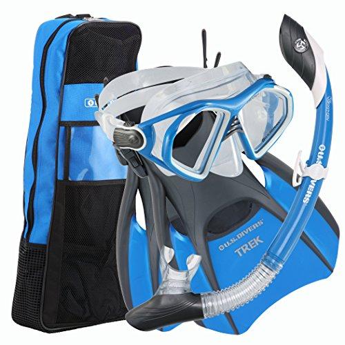 シュノーケリング マリンスポーツ 261230 U.S. Divers Admiral Snorkeling Set - Premium Silicone Snorkel Mask, Trek Travel Fins, Dry Top Snorkel + Snorkeling Gear Bag, Cobalt Blue, Mediumシュノーケリング マリンスポーツ 261230