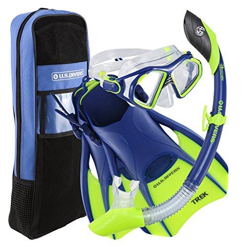 シュノーケリング マリンスポーツ 261228 U.S. Divers Admiral Snorkeling Set - Premium Silicone Mask, Trek Travel Fins, Dry Top Snorkel + Snorkeling Gear Bag, Neon Blue, Largeシュノーケリング マリンスポーツ 261228