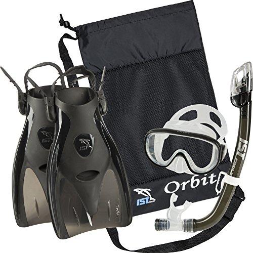 シュノーケリング マリンスポーツ IST Orbit Snorkel Set (Black, Large (8-10))シュノーケリング マリンスポーツ
