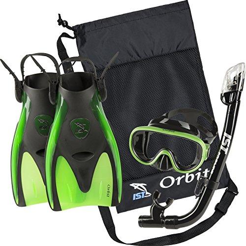 シュノーケリング マリンスポーツ 夏のアクティビティ特集 IST Orbit Snorkeling Gear Set: Tempered Glass Mask, Dry Top Snorkel & Trek Fins for Compact Travel (Black Silicone/Green, Medium)シュノーケリング マリンスポーツ 夏のアクティビティ特集