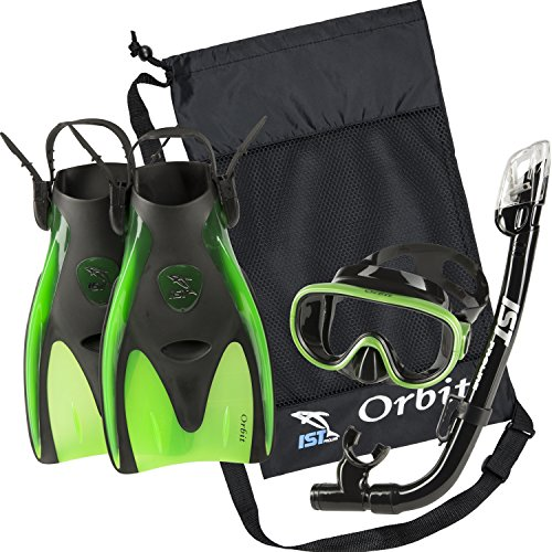 シュノーケリング マリンスポーツ 【送料無料】IST Orbit Snorkeling Gear Set: Tempered Glass Mask, Dry Top Snorkel & Trek Fins for Compact Travel (Black Silicone/Green, Large)シュノーケリング マリンスポーツ