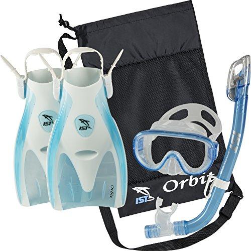 シュノーケリング マリンスポーツ 【送料無料】IST Orbit Snorkel Set (White/Clear Blue, Small (2-5))シュノーケリング マリンスポーツ