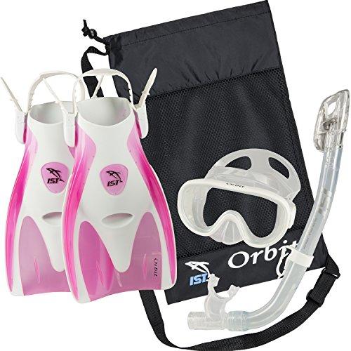 シュノーケリング マリンスポーツ IST Orbit Snorkel Set (White/Clear Pink, Medium (5-8))シュノーケリング マリンスポーツ
