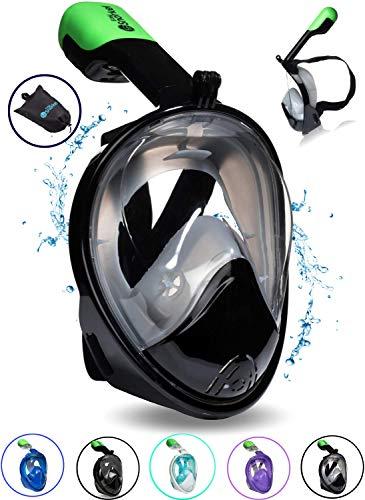 シュノーケリング マリンスポーツ PRODIGY Full Face Snorkel Mask Kids Adult - 180 Snorkeling Gear for Adults - SWIMTECH Hydro Dry Water Lungs Diving Mask Set - with GoPro Mount (Black/Grey - Small/Medium)シュノーケリング マリンスポーツ