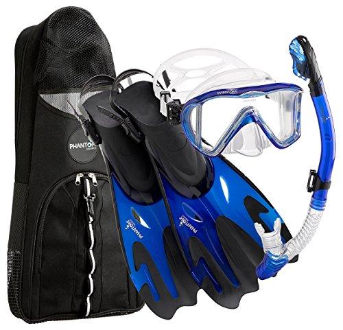 シュノーケリング マリンスポーツ Phantom Aquatics Legendary Mask Fin Snorkel Set with Mesh Bag, Blue, Small/Medium (5-8)シュノーケリング マリンスポーツ