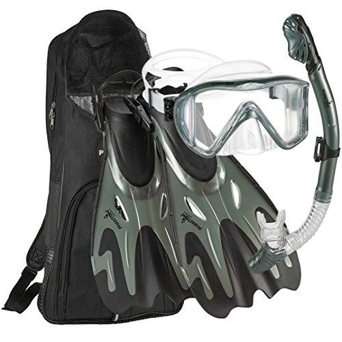 シュノーケリング マリンスポーツ Phantom Aquatics Legendary Mask Fin Snorkel Set with Mesh Bag, Silver, Small/Medium (5-8)シュノーケリング マリンスポーツ