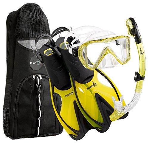 シュノーケリング マリンスポーツ Phantom Aquatics Legendary Mask Fin Snorkel Set with Mesh Bag, Yellow, Small/Medium (5-8)シュノーケリング マリンスポーツ