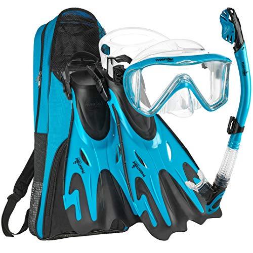 シュノーケリング マリンスポーツ Phantom Aquatics Legendary Mask Fin Snorkel Set with Mesh Bag, Aqua, Medium/Large (9-12)シュノーケリング マリンスポーツ