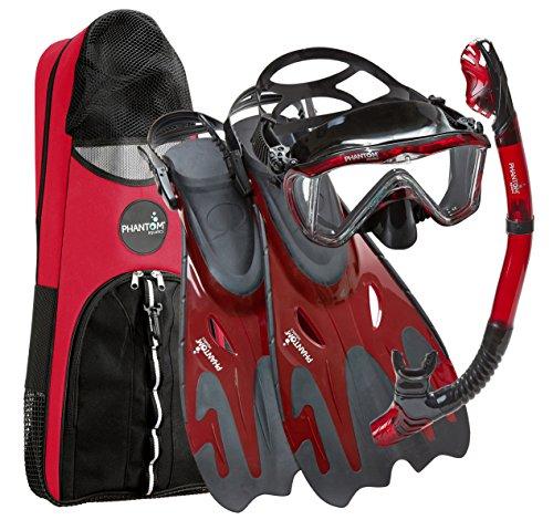 シュノーケリング マリンスポーツ PAQPMFS BKRD-LG Phantom Aquatics Legendary Mask Fin Snorkel Set with Mesh Bag, Black/Red, Medium/Large (9-12)シュノーケリング マリンスポーツ PAQPMFS BKRD-LG