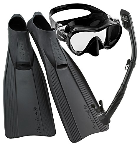 シュノーケリング マリンスポーツ CRSCMFSS_BK-5.6 Cressi Clio Full Foot Fin Frameless Mask Dry Snorkel Set with Carry Bag, Black, Size 5.5/6.5-Size 39/40シュノーケリング マリンスポーツ CRSCMFSS_BK-5.6