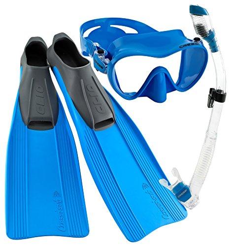 シュノーケリング マリンスポーツ CRSCMFSS_BL-5.6 Cressi Clio Full Foot Fin Frameless Mask Dry Snorkel Set with Carry Bag, Blue, Size 5.5/6.5-Size 39/40シュノーケリング マリンスポーツ CRSCMFSS_BL-5.6