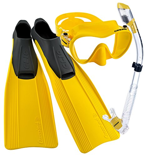 シュノーケリング マリンスポーツ CRSCMFSS_YL-4.5 【送料無料】Cressi Clio Full Foot Fin Frameless Mask Dry Snorkel Set with Carry Bag, Yellow, Size 4/5-Size 37/38シュノーケリング マリンスポーツ CRSCMFSS_YL-4.5
