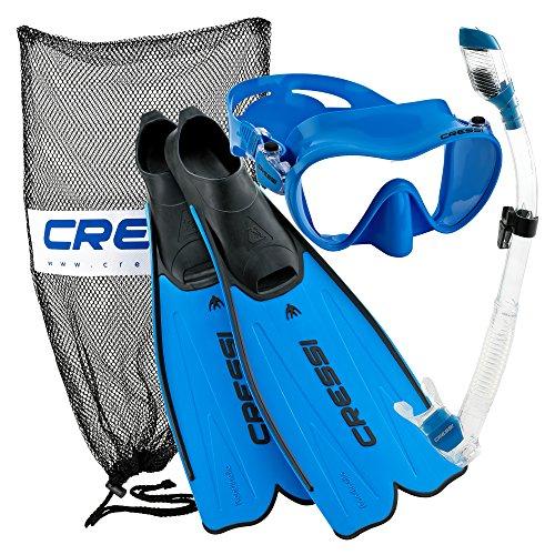 シュノーケリング マリンスポーツ CRS-RMFSS-BL-47-48 Cressi Rondinella Full Foot Mask Fin Snorkel Set with Bag, Blue, Size 12/13-Size 47/48シュノーケリング マリンスポーツ CRS-RMFSS-BL-47-48