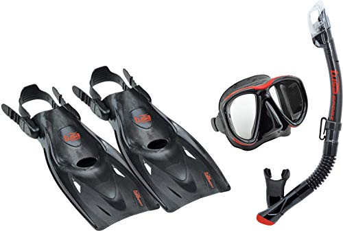 シュノーケリング マリンスポーツ UP-2521B-BKR-M TUSA Sport Adult Powerview Mask, Dry Snorkel, and Fins Travel Set, Medium, Black/Redシュノーケリング マリンスポーツ UP-2521B-BKR-M