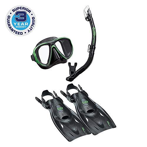 シュノーケリング マリンスポーツ UP-2521B-BKSG-L TUSA Sport Adult Powerview Mask, Dry Snorkel, and Fins Travel Set, Large, Black/Siesta Greenシュノーケリング マリンスポーツ UP-2521B-BKSG-L
