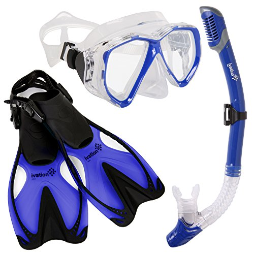 シュノーケリング マリンスポーツ Ivation Diving Gear - Snorkel Mask & Fins Set ? Includes Double Lens Snorkel Mask; Snorkel w/Dry Top, Lower Purge Valve & Flexible Mouthpiece; & Adjustable Speed Finsシュノーケリング マリンスポーツ