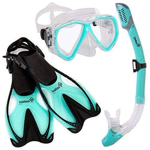 シュノーケリング マリンスポーツ Ivation Diving Gear - Snorkel Mask & Fins Set ? Includes Double Lens Snorkel Mask; Snorkel w/Dry Top, Lower Purge Valve & Flexible Mouthpiece; & Adjustable Speed Finsシュノーケリング マリンスポーツ