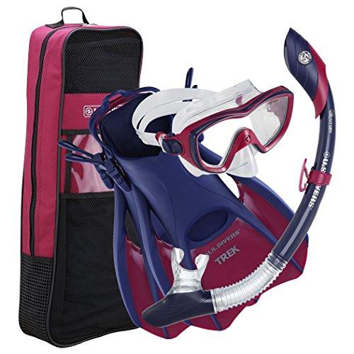 シュノーケリング マリンスポーツ 281073 U.S. Divers 281073 Diva II Mask Island Dry Snorkel Trek Fins Set, Blueberry, Medium (Ladies 8-11)シュノーケリング マリンスポーツ 281073