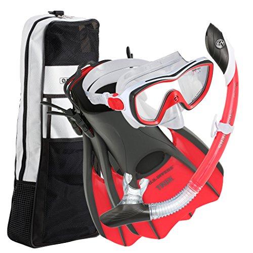 シュノーケリング マリンスポーツ 281075 U.S. Divers 281075 Diva II Mask Island Dry Snorkel Trek Fins Set, Red/White, Medium (Ladies 8-11)シュノーケリング マリンスポーツ 281075